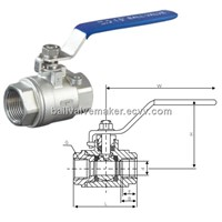 2pc stainless steel threaded end ball valve
