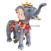 Crowned elephant shaped ride on car toy