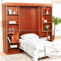 GS5001 wall bed with sliding bookcases murphy bed hidden bed china bed
