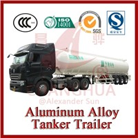 Light Tare Weight 3 Axles Aluminum Alloy Crude Oil Tanker Trailers for sale In Truck Semi Trailer