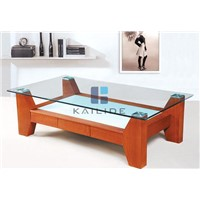 Modern fashionable clear glass and orange wood MDF coffee table furniture  manufacturer factory