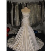 Sheath ruffle of  wedding gowns K072,Appliquted lace with beads/crystal