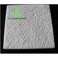 White crystallized glass, thassos glass bush hammered tile