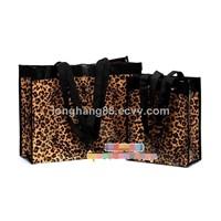 Women's Leopard Non-Woven Fabrics Handbag Reusable Tote Shopping bag