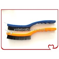 long plastic handle stainless steel wire brush