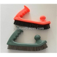 plastic handle with two heavy duty grips wire brush