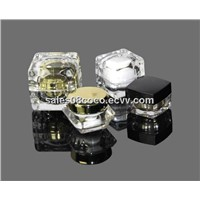 clear double -walled plastic acrylic cream jar for cosmetic container