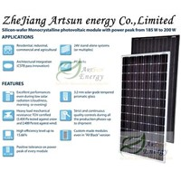 solar panel 200W,Mono solar panel,36V solar panel,on grid solar panel(SNM200M-72)