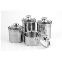 Stainless steel food canister with glass lid set SS Food pots for Ice Cream in Freezer
