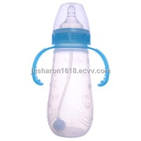300ml baby liquid silicone feeding bottle with handle
