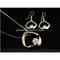 18KGP Valentine fashion jewelry sets set simple mother day hook earring necklace  F01070135