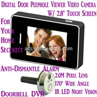 "2.8"" LCD Touch Screen Digital Door Peephole Viewer Doorbell Video Camera Recorder Access Control DVR"