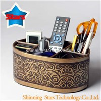 Leather Desk Organizer Box Remote Controllers Storage Box Case