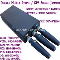 Portable Mini Mobile Phone Signal Jammer Stopper Isolator Blocking CDMA/GSM/3G/DCS/PHS GPS Signal W/ Inbuilt Battery