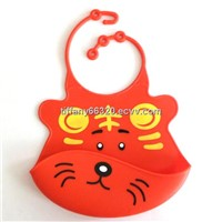 Red tiger Silicone Baby Bib , bibs , baby bibs , bibs for babies , cute animals faces