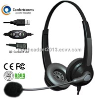 Binaural noise cancelling USB headset for computer HSM-902NPQDUSBC