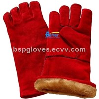 Deluxe Red Cow Split Leather Warm Winter Style Welding Work Gloves BGCW203W