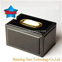 Luxury Black Leather Napkin Holder