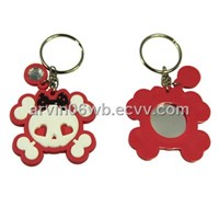 Sweet Skull Design Key Chain with Mirror