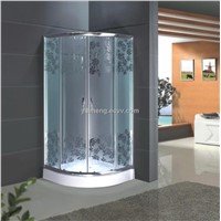 Tempered Misty Glass Shower Cabin with Flower Image
