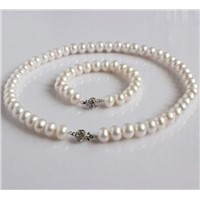 White Natural Freshwater Pearl Necklace Jewelry Sets,necklace&bracelet