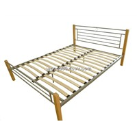 queen size iron bed steel wooden bed with slats(ML-019)