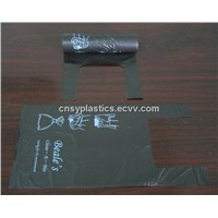 HDPE black T-shirt bag in roll(Plastic bag/Garbage bag/Trash bag/Rubbish bag/Refused sack/Roll bag)