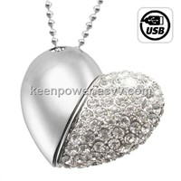 8GB USB Flash Drive - Jeweled Metal Heart Flash Disk UF6601