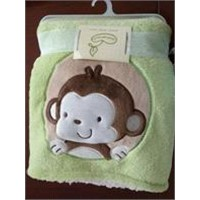 Embroidery Coral Fleece Baby Blanket, cute baby blanket