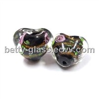 Glass Jewelry, Glass Heart-Shaped Bead, Flower Inside Glass Bead