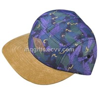 Custom Suede Patch Strap Colorful Fabric Snapback 5 Panel Hat