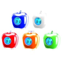 LED Light and Talking Time and Temperature Apple Shape Clock for Promotion