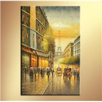 Canvas Paris Street Scene Oil Painting