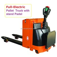 Full-Electric Pallet Truck with stand padel