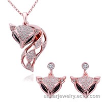 Nickel Free 18KGP Rose Gold  Fox Necklace and Earrings Health Jewelry Set Nice SWA Crystal