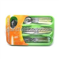 Plastic Handle Cutlery Set with Plastic Tray