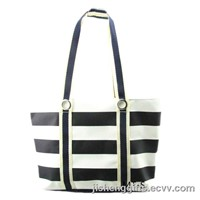 Fashion Microfiber Stripe Handle Bag