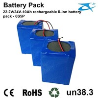 18650 Rechargeable cylinder 22.2V/24V 10AH rechargeable battery pack for power solar panel