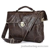 2013 Hot Sale Vintage Leather Men's Chocolate Briefcase Laptop Bag Messenger # 7091Q