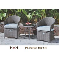 3 pcs PE Rattan Bar Set, One Table with 2 Chairs