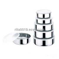 5 PCS STAINLESS STEEL FOOD STORAGE CONTAINERS MIXING BOWLS SET WITH LIDS