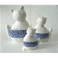 Ceramic Cat with Blue Scarf, Interior Decoration