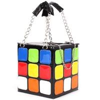 Exquisite Colorful Magic Cube Design Chain Pattern Satchel Bags
