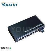Fiber Switch,100M dual fiber 6 RJ45 ports