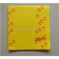 Household cleaning products printed yellow cloth