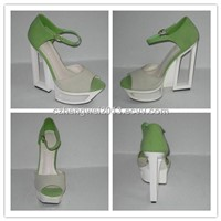 Ladies hollow high heel ankle strap nubuck leather sandals