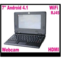Mini 7 inch Android Laptop VIA8850 Cortex A9 1.5GHz Android 4.1 Web camera WiFi RJ45 Ethernet HDMI
