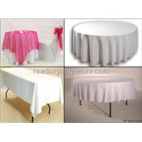 Polyester table cloth organza overlay table cover