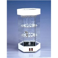 Revolving Acrylic Jewelry Display Showcase LED Lighting Perspex Watch Cabinet