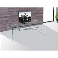 Tempered Bent Glass TV Stand for Glass Furniture